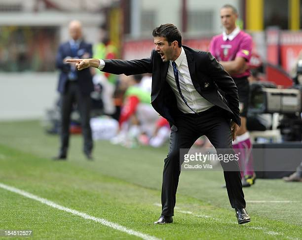 Head coach Andrea Stramaccioni of FC Inter Milan during the Serie A match between FC Internazionale Milano and Calcio Catania at San Siro Stadium on...