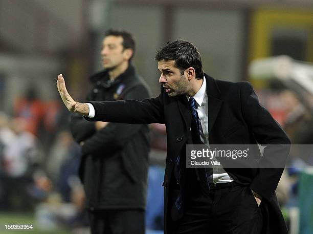 Head coach Andrea Stramaccioni of FC Inter Milan gestures during the Serie A match between FC Internazionale Milano and Pescara at San Siro Stadium...