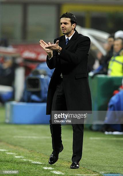 Head coach Andrea Stramaccioni of FC Inter Milan reacts during the Serie A match between FC Internazionale Milano and Pescara at San Siro Stadium on...