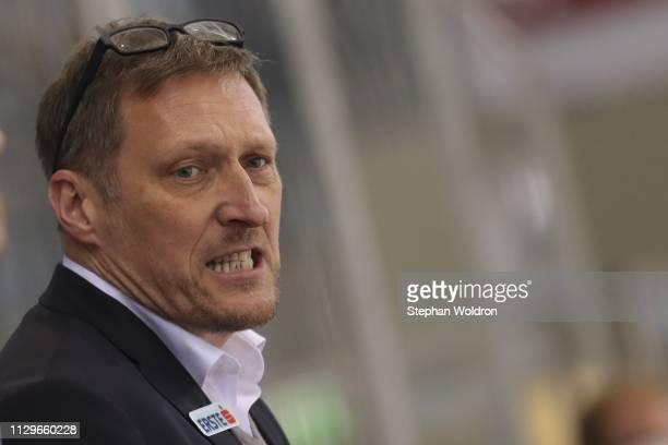 Head Coach Andreas Brucker of Salzburg during the Vienna Capitals v EC Red Bull Salzburg Erste Bank Eishockey Liga at Erste Bank Arena on March 10...