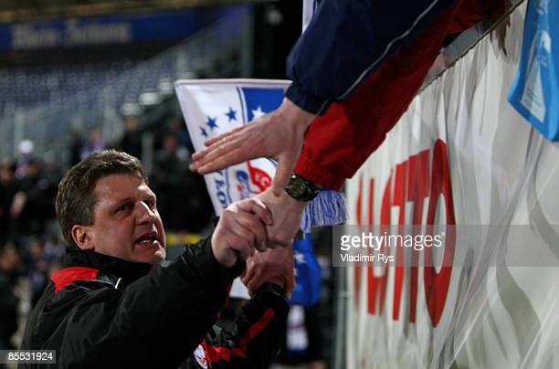 Head coach Andreas Zachhuber of Rostock acknowledges the fans after the second Bundesliga match at the Oberwerth stadium on March 20 2009 in Koblenz...