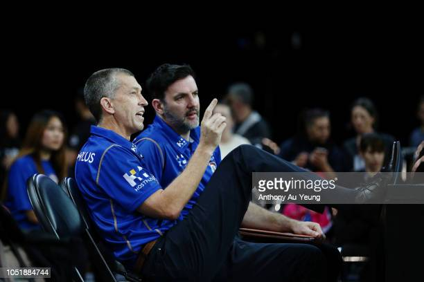 Head Coach Andrej Lemanis and Assistant Coach Sam Mackinnon of the Bullets chat prior to the round one NBL match between the New Zealand Breakers and...