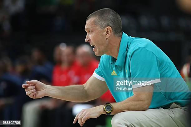 Head coach Andrej Lemanis of Australia calls out instructions during the Men's Preliminary Round Group A game between Australia and the United States...