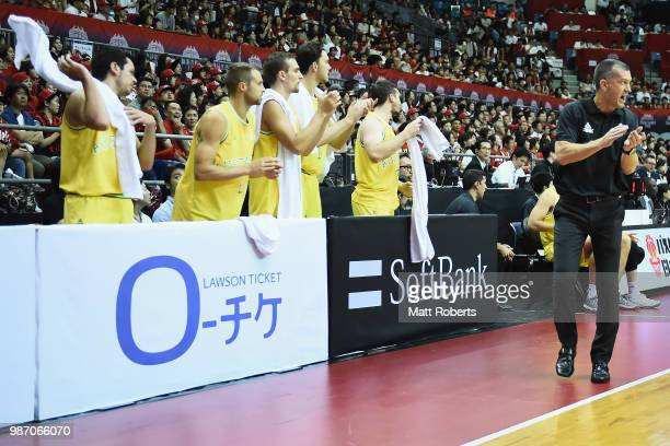 Head coach Andrej Lemanis of Australia reacts during the FIBA World Cup Asian Qualifier Group B match between Japan and Australia at Chiba Port Arena...