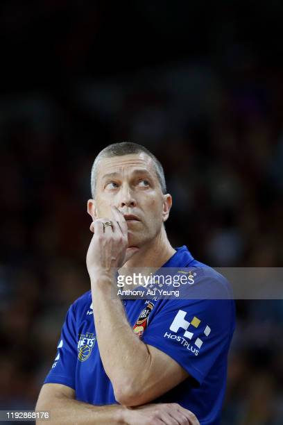Head Coach Andrej Lemanis of the Bullets looks on during the round 10 NBL match between the New Zealand Breakers and the Brisbane Bullets at Spark...