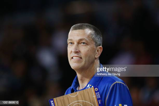 Head Coach Andrej Lemanis of the Bullets looks on during the round one NBL match between the New Zealand Breakers and the Brisbane Bullets at Spark...