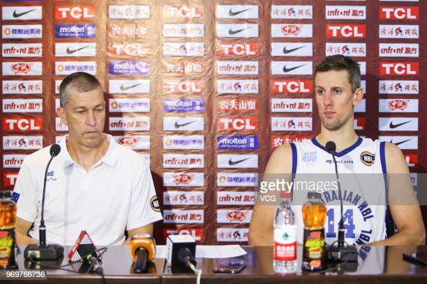 Head coach Andrej Marcus Lemanis of Australia and his player Daniel Kickert attend a press conference after the 2018 SinoAustralian Men's...