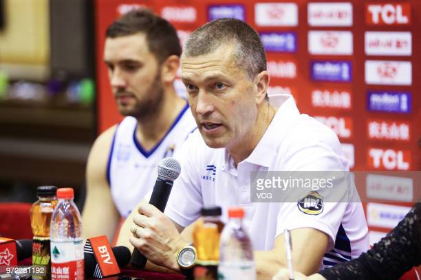 Head coach Andrej Marcus Lemanis of Australia attends a press conference after the 2018 SinoAustralian Men's Internationl Basketball Challenge match...