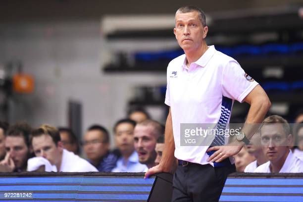 Head coach Andrej Marcus Lemanis of Australia looks on during the 2018 SinoAustralian Men's Internationl Basketball Challenge match between the...