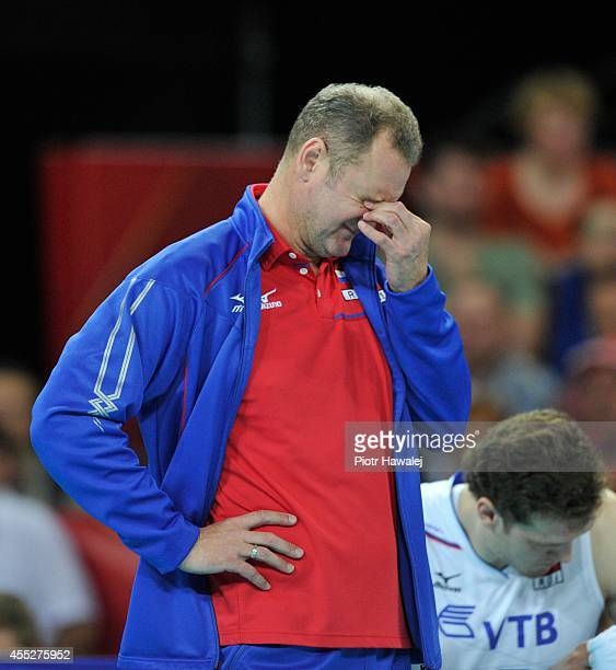 Head coach Andrey Voronkov of Russia reacts during the FIVB World Championships match between Cuba and Russia on September 11 2014 in Wroclaw Poland