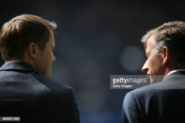 Head coach Andries Jonker and sports director Olaf Rebbe of Wolfsburg prior to the Bundesliga match between Hamburger SV and VfL Wolfsburg at...