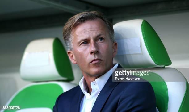 Head coach Andries Jonker of Wolfsburg prior to the Bundesliga Playoff first leg match between VfL Wolfsburg and Eintracht Braunschweig at Volkswagen...