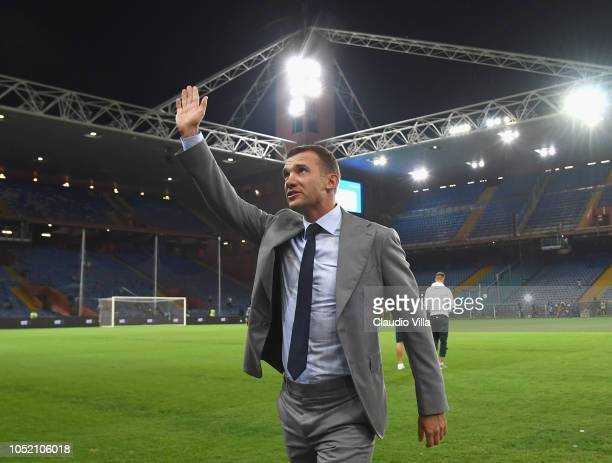 Head coach Andriy Shevchenko greets the fans during the International Friendly match between Italy and Ukraine on October 10 2018 in Genoa Italy