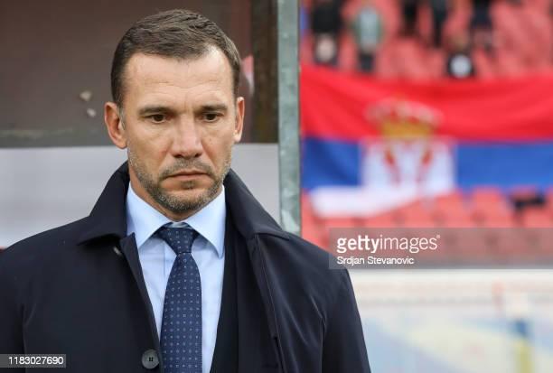 Head coach Andriy Shevchenko of Ukraine looks on prior to the UEFA Euro 2020 Qualifier between Serbia and Ukraine on November 17, 2019 in Belgrade,...