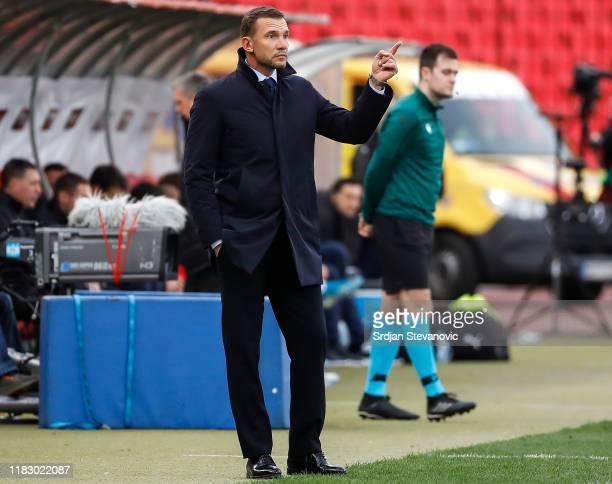 Head coach Andriy Shevchenko of Ukraine reacts during the UEFA Euro 2020 Qualifier between Serbia and Ukraine on November 17, 2019 in Belgrade,...
