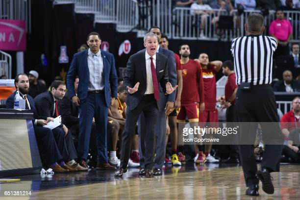USC head coach Andy Enfield can't believe a call during the quarterfinal game of the Pac12 Tournament between the UCLA Bruins and the USC Trojans on...