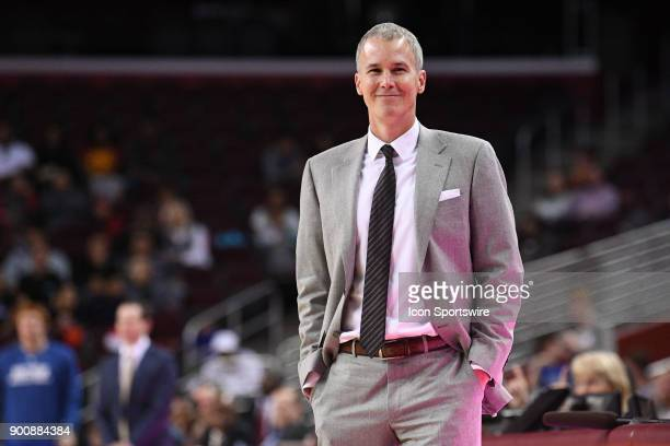 USC head coach Andy Enfield is all smiles during a college basketball game between the UC Santa Barbara Gauchos and the USC Trojans on November 26 at...