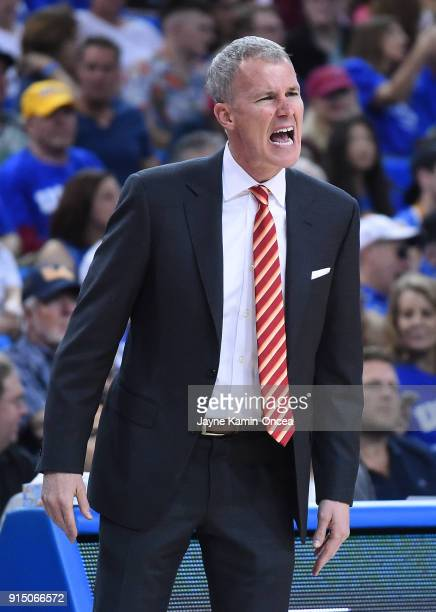 Head coach Andy Enfield of the USC Trojans yells from the bench during the game against the UCLA Bruins at Pauley Pavilion on February 3 2018 in Los...