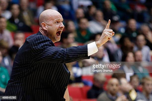 Head coach Andy Kennedy of the Mississippi Rebels reacts against the Brigham Young Cougars during the first round of the 2015 NCAA Men's Basketball...