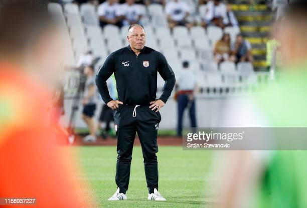 Head coach Andy Morrison of Connah's Quay looks on prior to the UEFA Europa League Second Qualifying round Second Leg match between Partizan and...