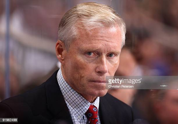 Head coach Andy Murray of the St Louis Blues during the NHL game against the Phoenix Coyotes at Jobingcom Arena on October 15 2009 in Glendale...