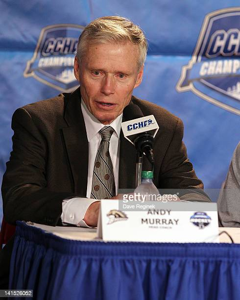 Head coach Andy Murray of the Western Michigan Broncos talks to the media after winning the CCHA Playoff Championship game against the University of...
