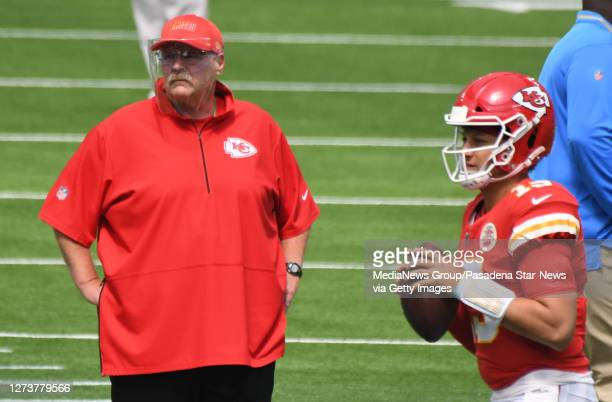 Head coach Andy Reid along with Quarterback Patrick Mahomes of the Kansas City Chiefs prior to a NFL football game against the Los Angeles Chargers...