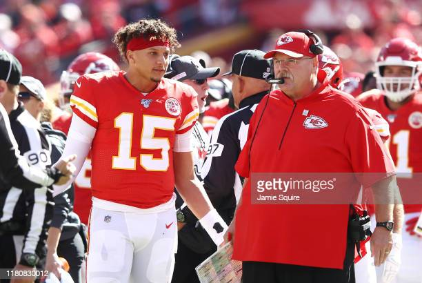 Head coach Andy Reid of the Kansas City Chiefs and Patrick Mahomes react to a call during the first half against the Houston Texans at Arrowhead...
