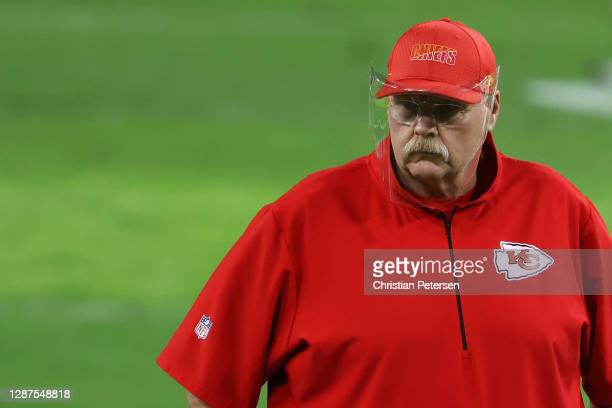 Head coach Andy Reid of the Kansas City Chiefs before the NFL game against the Las Vegas Raiders at Allegiant Stadium on November 22, 2020 in Las...