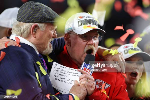 Head coach Andy Reid of the Kansas City Chiefs celebrates with the Vince Lombardi Trophy after defeating the San Francisco 49ers 31-20 in Super Bowl...