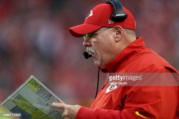 Head coach Andy Reid of the Kansas City Chiefs coaches from the sidelines during the game against the Oakland Raiders at Arrowhead Stadium on...