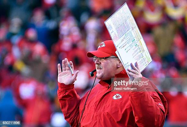Head coach Andy Reid of the Kansas City Chiefs coaches from the sidelines during the game against the Tennessee Titans at Arrowhead Stadium on...