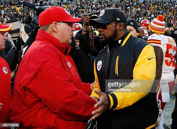 Head coach Andy Reid of the Kansas City Chiefs congratulates head coach Mike Tomlin of the Pittsburgh Steelers after Pittsburgh's 20-12 win at Heinz...