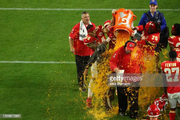 Head coach Andy Reid of the Kansas City Chiefs gets a ice bath after defeating the San Francisco 49ers 3120 in Super Bowl LIV at Hard Rock Stadium on...