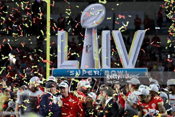 Head coach Andy Reid of the Kansas City Chiefs is interviewed after defeating San Francisco 49ers by 31 20 in Super Bowl LIV at Hard Rock Stadium on...