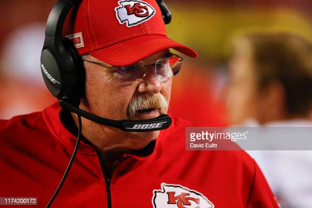 Head coach Andy Reid of the Kansas City Chiefs looks at his bench during the third quarter against the Indianapolis Colts at Arrowhead Stadium on...