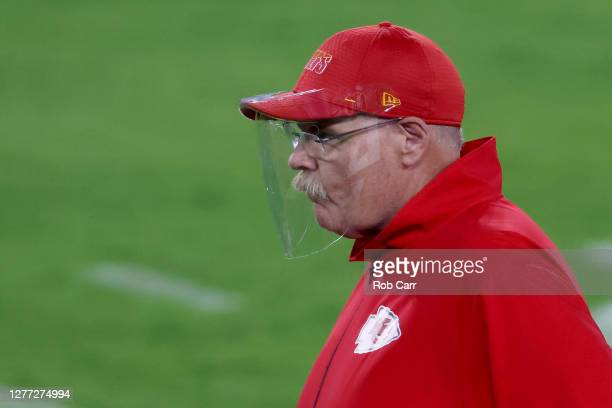 Head coach Andy Reid of the Kansas City Chiefs looks on against the Baltimore Ravens during their game at M&T Bank Stadium on September 28, 2020 in...