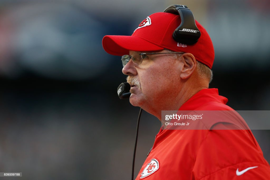 Head coach Andy Reid of the Kansas City Chiefs looks on against the Seattle Seahawks at CenturyLink Field on August 25, 2017 in Seattle, Washington.