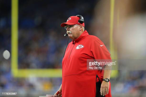 Head coach Andy Reid of the Kansas City Chiefs looks on from the sidelines against the Detroit Lions at Ford Field on September 29 2019 in Detroit...