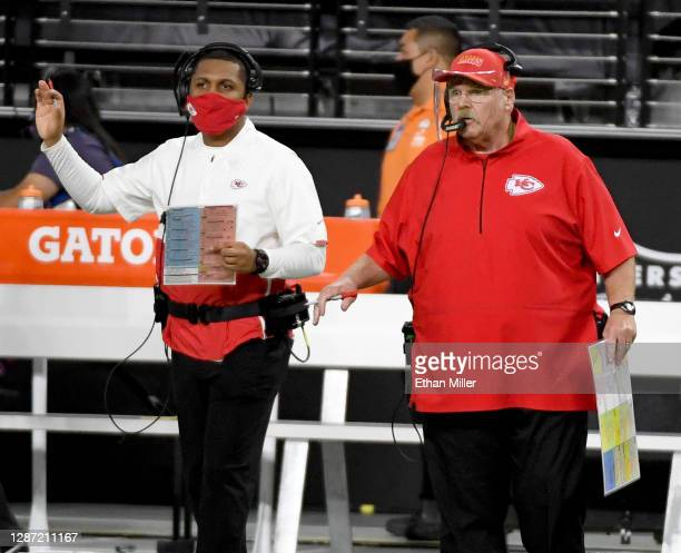 Head coach Andy Reid of the Kansas City Chiefs looks on in the first half of a game against the Las Vegas Raiders at Allegiant Stadium on November...