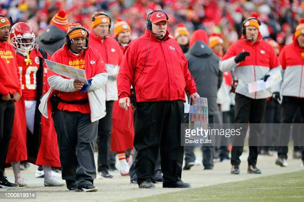 Head coach Andy Reid of the Kansas City Chiefs looks on in the second half against the Tennessee Titans in the AFC Championship Game at Arrowhead...