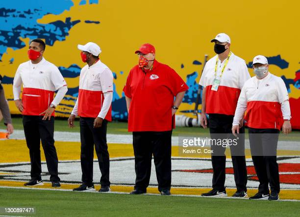 Head coach Andy Reid of the Kansas City Chiefs looks on prior to a game against the Tampa Bay Buccaneers in Super Bowl LV at Raymond James Stadium on...