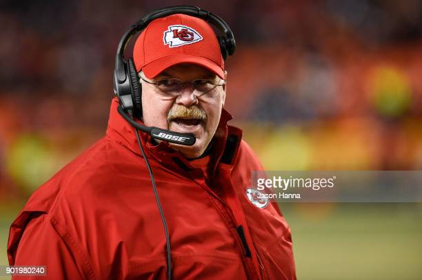 Head coach Andy Reid of the Kansas City Chiefs looks to the sidelines just before the Tennessee Titans run the last play of the AFC Wild Card Playoff...