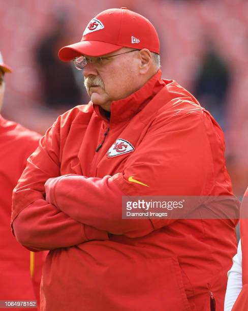 Head coach Andy Reid of the Kansas City Chiefs on the field prior to a game against the Cleveland Browns on November 4 2018 at FirstEnergy Stadium in...