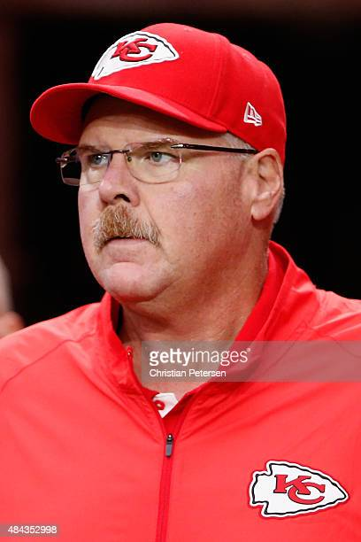bd25e9578b6 Head coach Andy Reid of the Kansas City Chiefs on the sidelines during the  preseason NFL