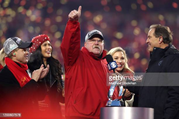 Head coach Andy Reid of the Kansas City Chiefs reacts after defeating the Tennessee Titans in the AFC Championship Game at Arrowhead Stadium on...