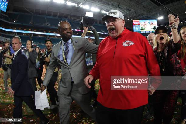Head coach Andy Reid of the Kansas City Chiefs reacts after defeating San Francisco 49ers by 31 - 20 in Super Bowl LIV at Hard Rock Stadium on...