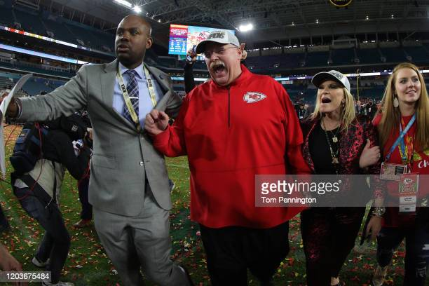 Head coach Andy Reid of the Kansas City Chiefs reacts after defeating San Francisco 49ers by 31 20 in Super Bowl LIV at Hard Rock Stadium on February...