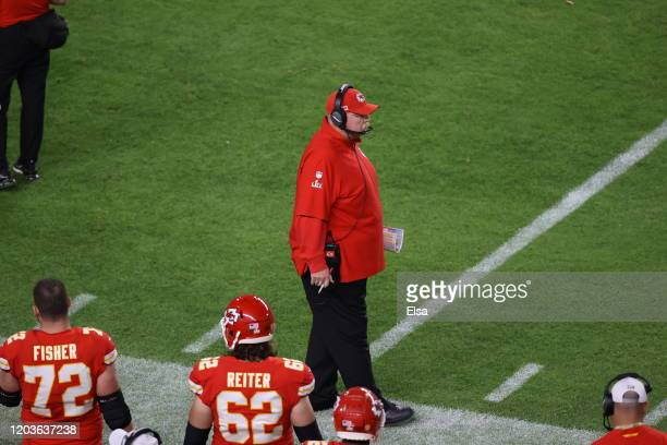 Head coach Andy Reid of the Kansas City Chiefs reacts against the San Francisco 49ers during the first quarter in Super Bowl LIV at Hard Rock Stadium...