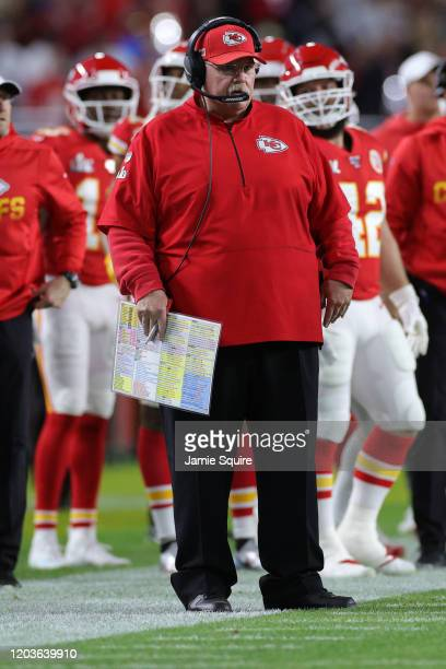 Head coach Andy Reid of the Kansas City Chiefs reacts against the San Francisco 49ers in Super Bowl LIV at Hard Rock Stadium on February 02 2020 in...